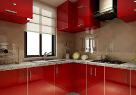 Red Kitchen Walls With White Cabinets by Sleek Kitchen Cabinets In Red Kitchen Design With White Floor
