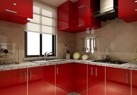sleek kitchen cabinets in red kitchen design with white floor
