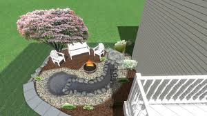 water feature and fire pit for smaller backyard areas
