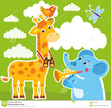 giraffe and elephant cartoon vector baby frame or card giraffe