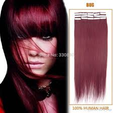 Hair Extensions Tape by 99j Burgundy Tape Hair Extensions Human Indian Remy Adhesive Glue