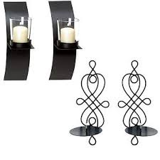 Iron Wall Sconce 2pc Set Black Metal Wall Sconce Candle Holder Wired Sconce Modern
