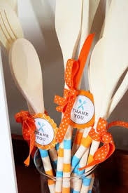 wooden party favors cooking party favors wooden spoon with a recipe attached