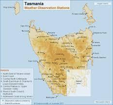 map of tasmania australia tasmanian weather observation stations