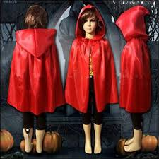 Red Witch Halloween Costume Children Gothic Hooded Stain Cloak Wicca Robe Witch Halloween