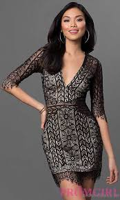 shop black short lace dress with three quarter length sleeves
