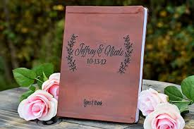 wedding guest book leather engraved leaf guest book wedding guest book