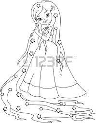 princess rapunzel coloring page royalty free cliparts vectors