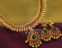 red stones gold necklace images Nl1913 gold plated mango design red green color stones traditional JPG