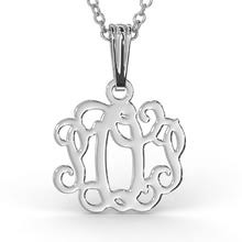Sterling Silver Monogram Jewelry Monogram Necklace With Swirling Design In Sterling Silver