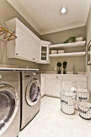 contemporary laundry room area with wooden brookline white laundry