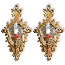 Mirrored Wall Sconce Pair Of Italian Louis Xv Mirrored Wall Sconces