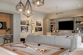 light over pool table staggered pendants over pool table transitional living room