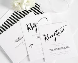 Invitation Card For A Wedding Modern Calligraphy Wedding Invitations In Black And White