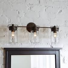 Bathroom  Mason Jar Vanity Light Fixture With Shade Aftcra Within - Bathroom vanity light with shades