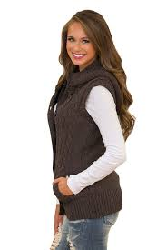 sweater vest womens brown cable knit hooded sweater vest mb27665 17 modeshe com