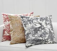 alpine toile plaid reversible pillow cover pottery barn