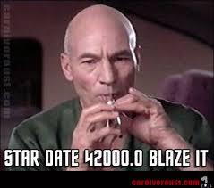 Smokers Meme - captain picard funny image meme smoking pot weed joke 420 blaze it