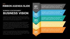ribbon agenda slide powerpoint and keynote template slidebazaar