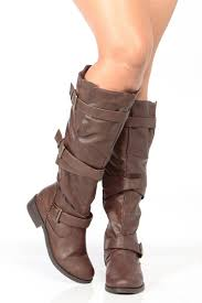 brown leather biker boots brown faux leather knee high strappy biker boots cicihot boots