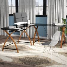 Modern L Shaped Computer Desk Latitude Run Alariz Modern L Shaped Computer Desk Reviews Wayfair