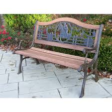 Oakland Living Mississippi Cast Aluminum Oakland Living Horse Cast Iron And Wood Bench In Antique Bronze
