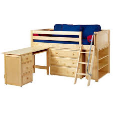 carter low loft bed with dressers bookcase and desk