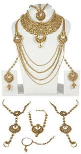 indian bridal necklace sets images Buy muchmore traditional gold plated polki bridal necklace set jpg
