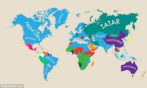 map in language world map reveals each country s second language daily mail