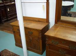 Antique Tiger Oak Dresser With Mirror by Oak Bedroom Set High Back Bed Dresser W Mirror Washstand