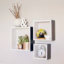Wooden Wall Shelf Designs by Square Shelves Set Of 3 Wood Shelves By Blissnotions