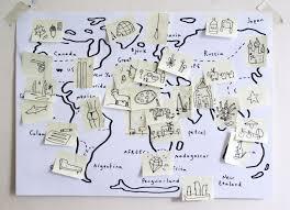 World Map Desk by Post It World Map English Drawings