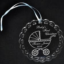 engraved acrylic ornament with baby buggy acrilico