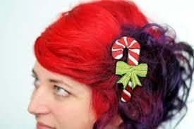 candy cane hair clip christmas barrette kawaii red white