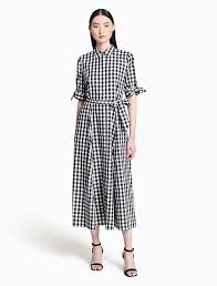 sleeve maxi dress gingham tie sleeve maxi dress calvin klein