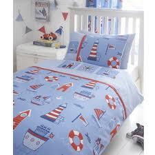 boat yard ship lighthouse embroidered junior toddler bed duvet