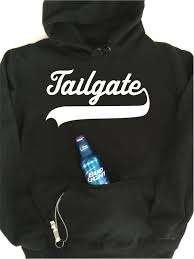 tailgate hoodie with built in neoprene can cooler and bottle