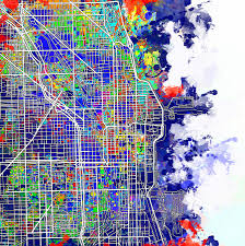 Chicago Beaches Map by Chicago Map Color Splash Painting By Bekim Art