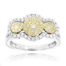 Wedding Rings For Girls by White And Yellow Diamonds Right Hand Ring For Women Cluster Design