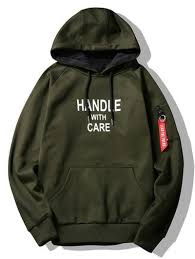 flocking handle with care graphic hoodie army green hoodies