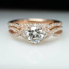 Rose Gold Wedding Rings by 14k Rose Gold Diamond Halo Engagement Ring U0026 Wedding Band Set