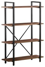 industrial style bookcase 4 wood shelves black metal frame