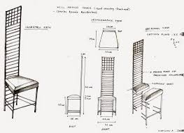 crypt decrypt hill house chair sketch orthographic drawing and