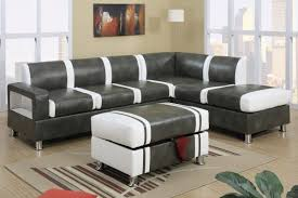 ultra modern two tone faux leather sectional sofa with ottoman