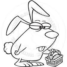 cartoon grumpy easter bunny black and white line art by ron