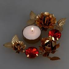 golden red designer diyas diwali decorations candle light holder