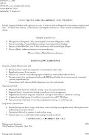 Medical Transcription Sample Chiropractic Assistant Resume Sample Resume For Your Job Application