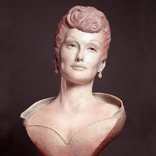 lucille ball bronze portrait during her modeling career by paula