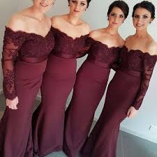 burgundy bridesmaid dress mermaid shoulder sweep - Plus Size Burgundy Bridesmaid Dresses