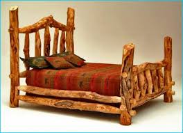 Wood Log Bed Frame Log Cabin Style Bedroom With Cedar Wood King Bed Frame Designs